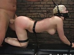 Cherry having sex and dominated in latex and bondage.