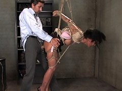 Sexy girl fucked in bondage in suspension bondage.