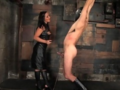 Sandra Romain fucks slave boy up the ass