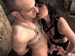 Penny Flames ties up slave boy and reams ass with strap on
