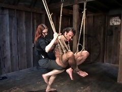 Mistress Claire Adams in Heavy Bondage scene