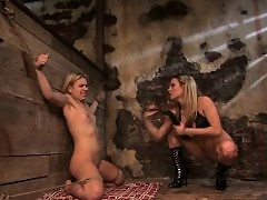 Two hot blondes in BDSM action