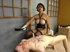 Charlie is hot waxed, flogged, and clothespinned