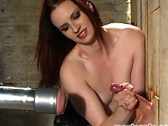 Mistress Claire Adams ties and fucks slave boy