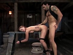 Girl bound and fucked in wheelbarrow.