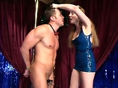 Dick is flogged, blindfolded and has weights hung from his balls