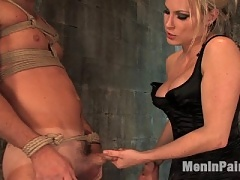 Slave boy licks his come off Mistress Harmony Rose's beautiful pussy