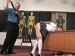 Girl fucked in bondage at university.