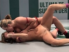Blond beats European girl in wrestling then fucks her in the ass!
