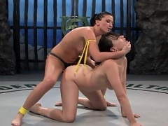 Dana DeArmond defeated and fucked in F/F wrestling