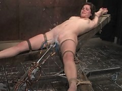 Bobbi Starr blindfolded fidgets and wriggles to stay above water