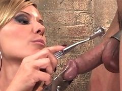 Gorgeous Blonde Mistress Fucks up smart ass slave boy