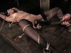 Bobbi Star is bound, gagged, and forced to walk a pussy rope.