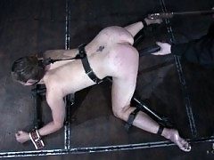 Dirty blonde in pain, strapped down, clamped, whipped and fucked
