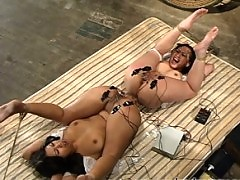 2 Asian sluts are tied together and fucked with electricity