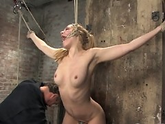 Blond Amazon, bound, tortured and forced to cum!