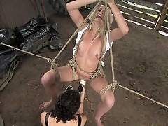 Beautiful Russian blonde tries bondage for the first time