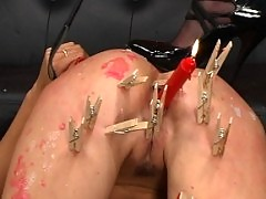 Kym doms giggly newbie Audrey, slapping, candle play, hair pull