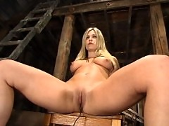 Harmony, bound, gagged, and shocked in the barn.