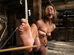 Kelly Wells takes some very hard bondage and foot punishments.