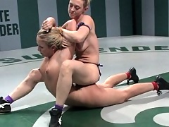 Top ranked wrestler gets beaten, fingered, and forced to cum