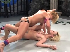 Two shaved hot blonds wrestle to see who gets to fuck the other