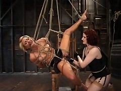 Hot blonde recieves intense pussy torture from Claire Adams
