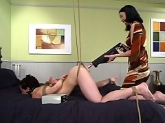 Nina electrifies her own pussy and then masturbates furiously.