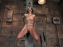 Petite, brunette MILF bound, punished and force to cum!
