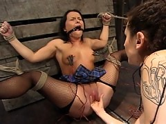 Katja Kassin gets her ass stuffed with huge electric metal dildo