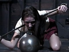 Hailey Young and Ariel locked in severe steel bondage