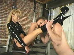 Janay teaches Wild Bill how to work-out and jack off