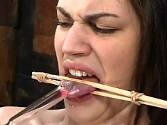 19 yr old cums after nipple clamps, tongue torture, and flogging.