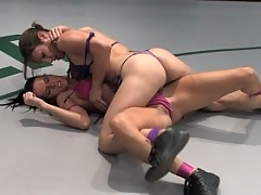 Jennifer Dark gets her ass handed to her in real nude wrestling