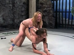 Bobbi Starr defeated and fucked, naked wreslting