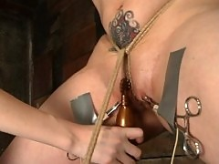 Venus May in predicament bondage with electroplay!
