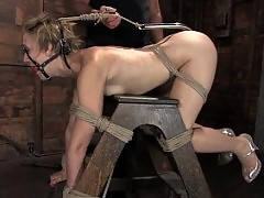 Girl in bondage getting dominated and fucked!