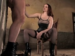 Mistress Claire whips and suspends sub boy