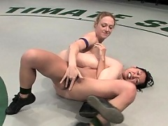 Big titted Asian gets beat up in real wrestling then fucked