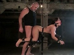 Big busty girl bets bound, gagged, and forced to suck huge cock.