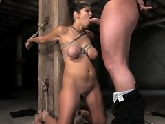 Beautiful girl with big natural tits in bondage and fucked.